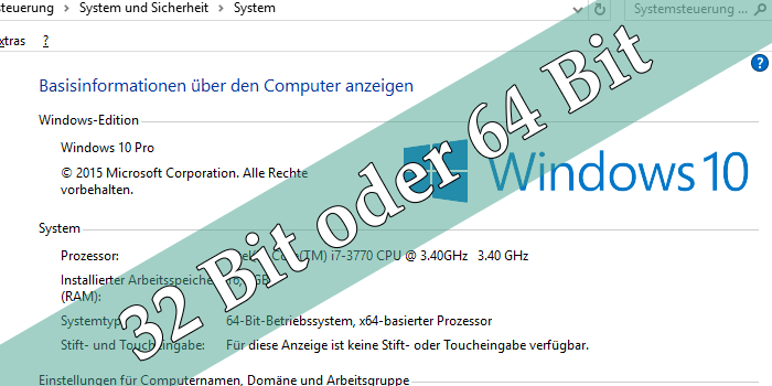 Windows - 32- oder 64-Bit und Version