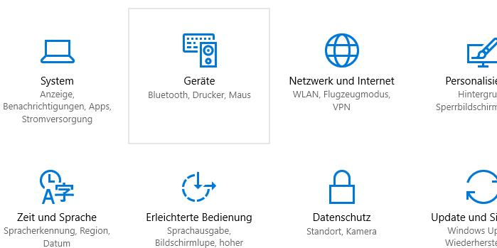 Windows 10 Einstellungen, Geräte