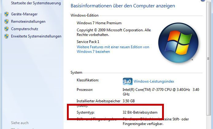 Windows 7 - Systemtyp 32- bzw. 64-Bit